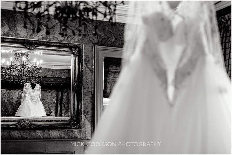 wedding dress in the bridal suite at mitton hall