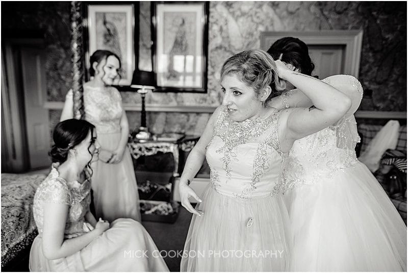 bridesmaids getting ready at mitton hall