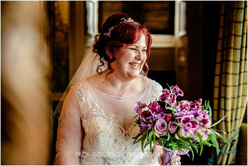 bride at a mitton hall wedding