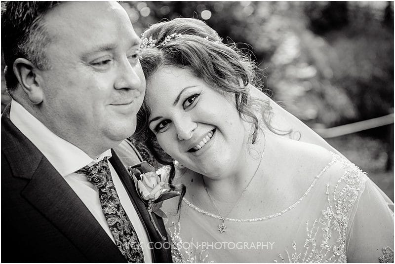 black and white wedding photo at mitton hall