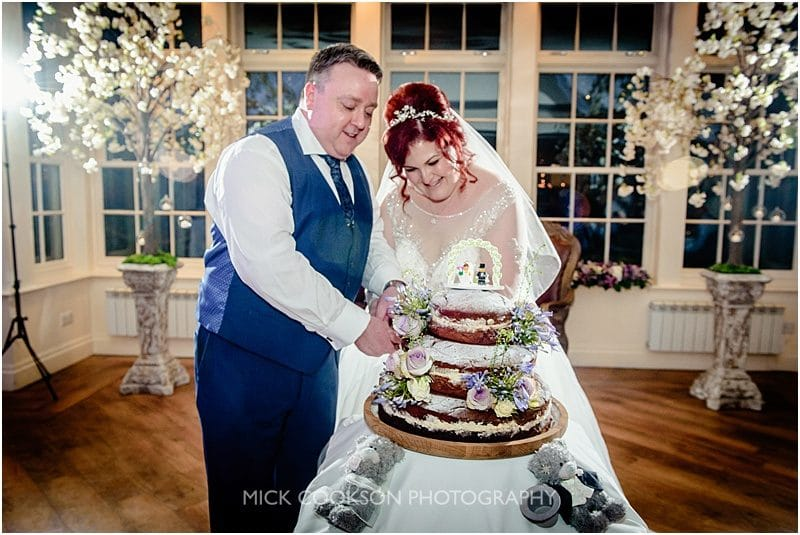 cutting the cake at mitton hall
