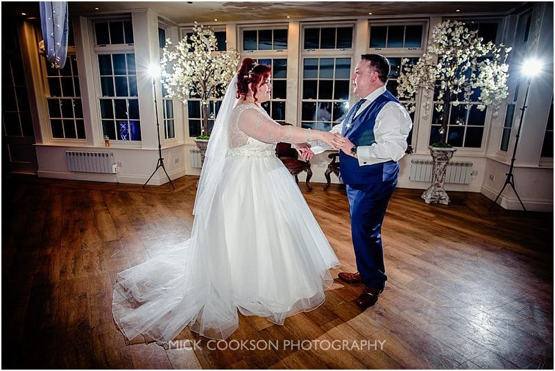 bride and groom first dance at mitton hall