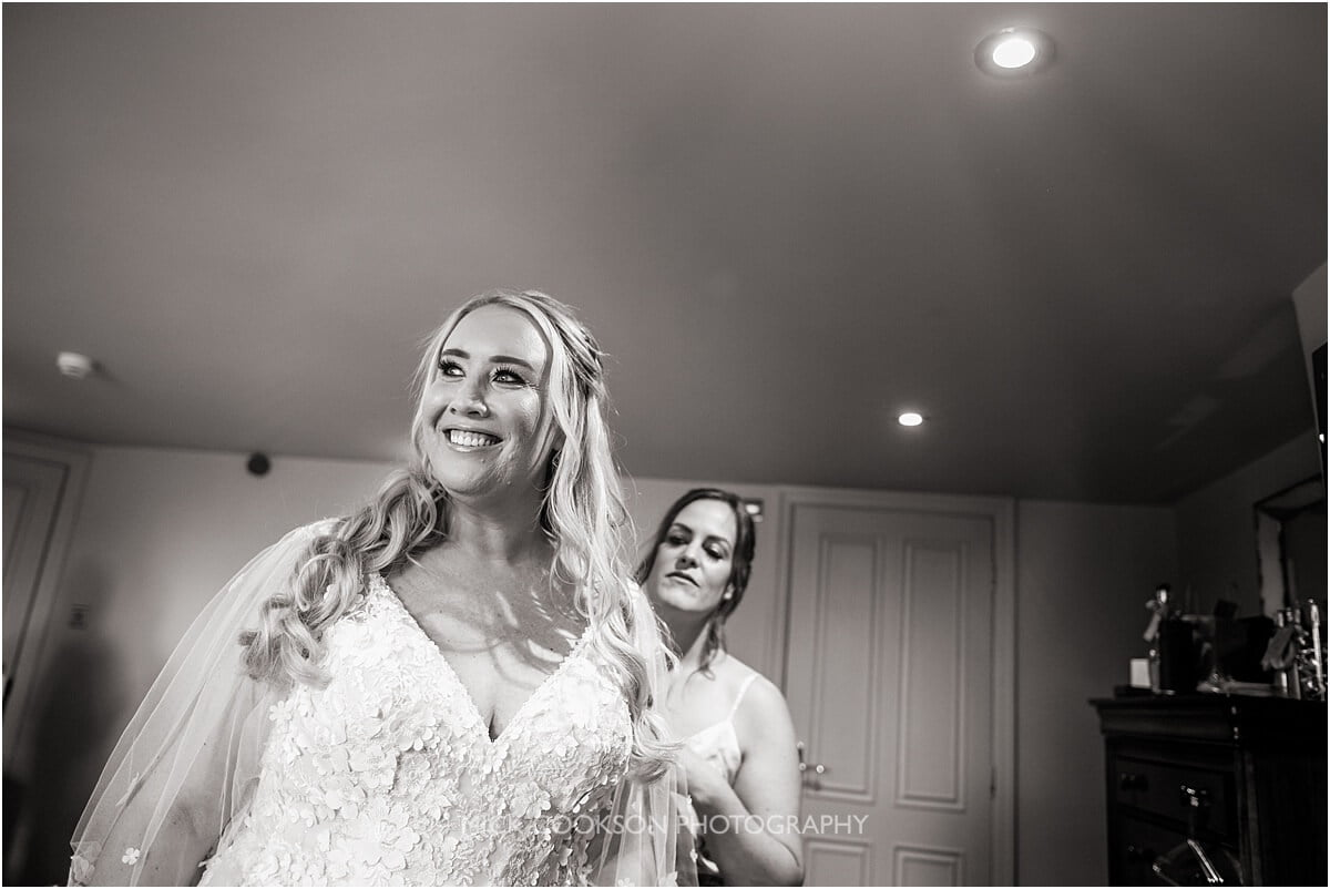 happy bride at the white hart at lydgate