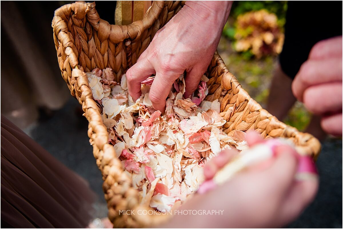 confetti at a white hart inn wedding