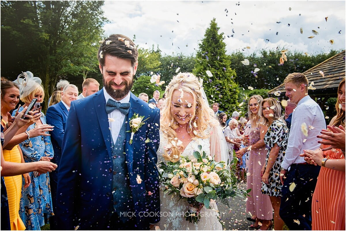 confetti throw at a saddleworth wedding