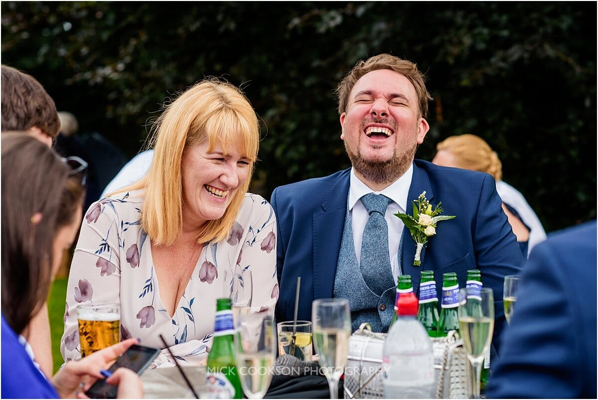 wedding guests having fun at the white hart lydgate