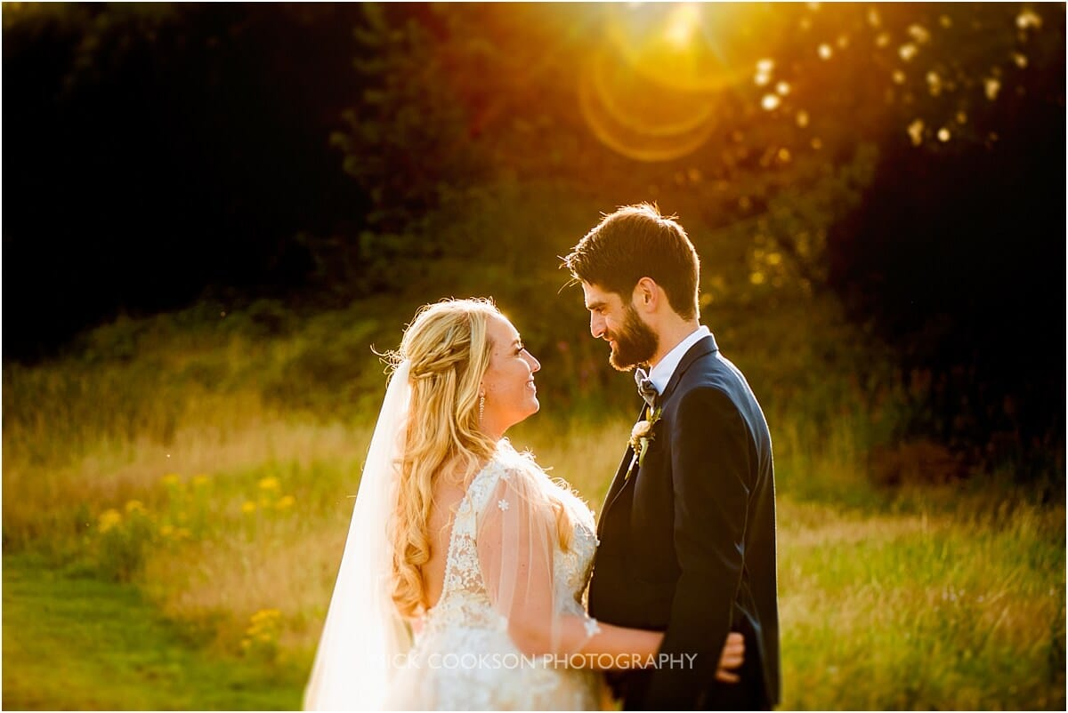 bride and groom photo at sunset
