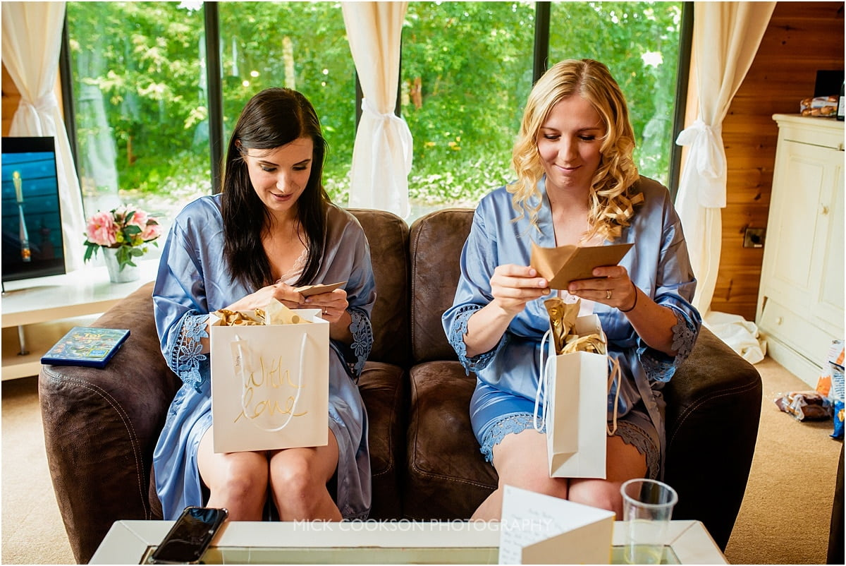 bridesmaids opening their gifts