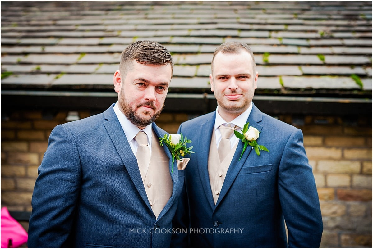 groom and best man at rivington hall barn