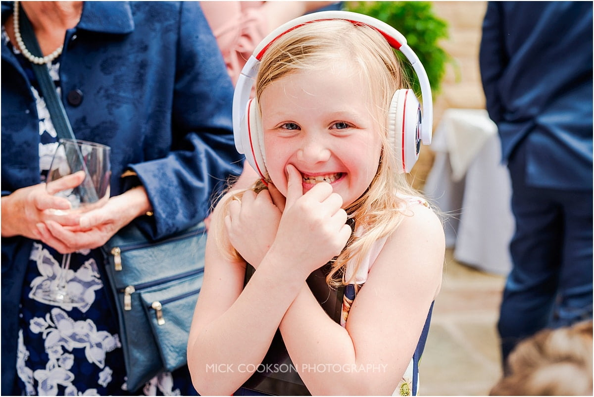 smiling girl at a rivington hall barn wedding