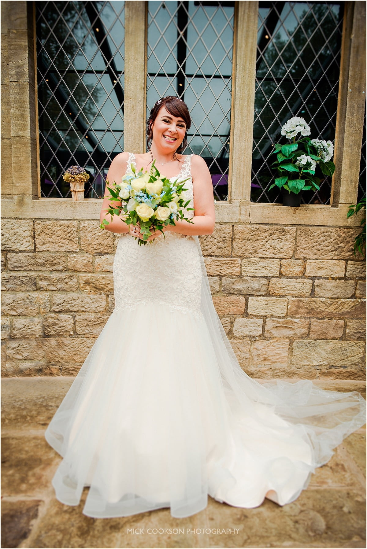 excited bride at rivington hall barn wedding