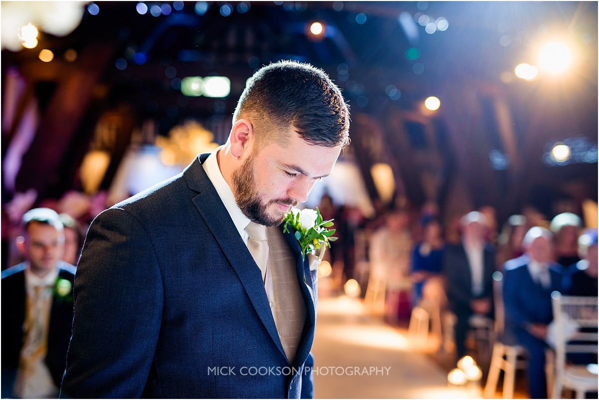 anxious groom at a rivington hall barn wedding