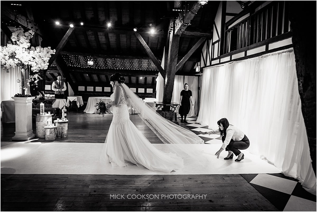 entrance of the bride at a rivington hall barn wedding