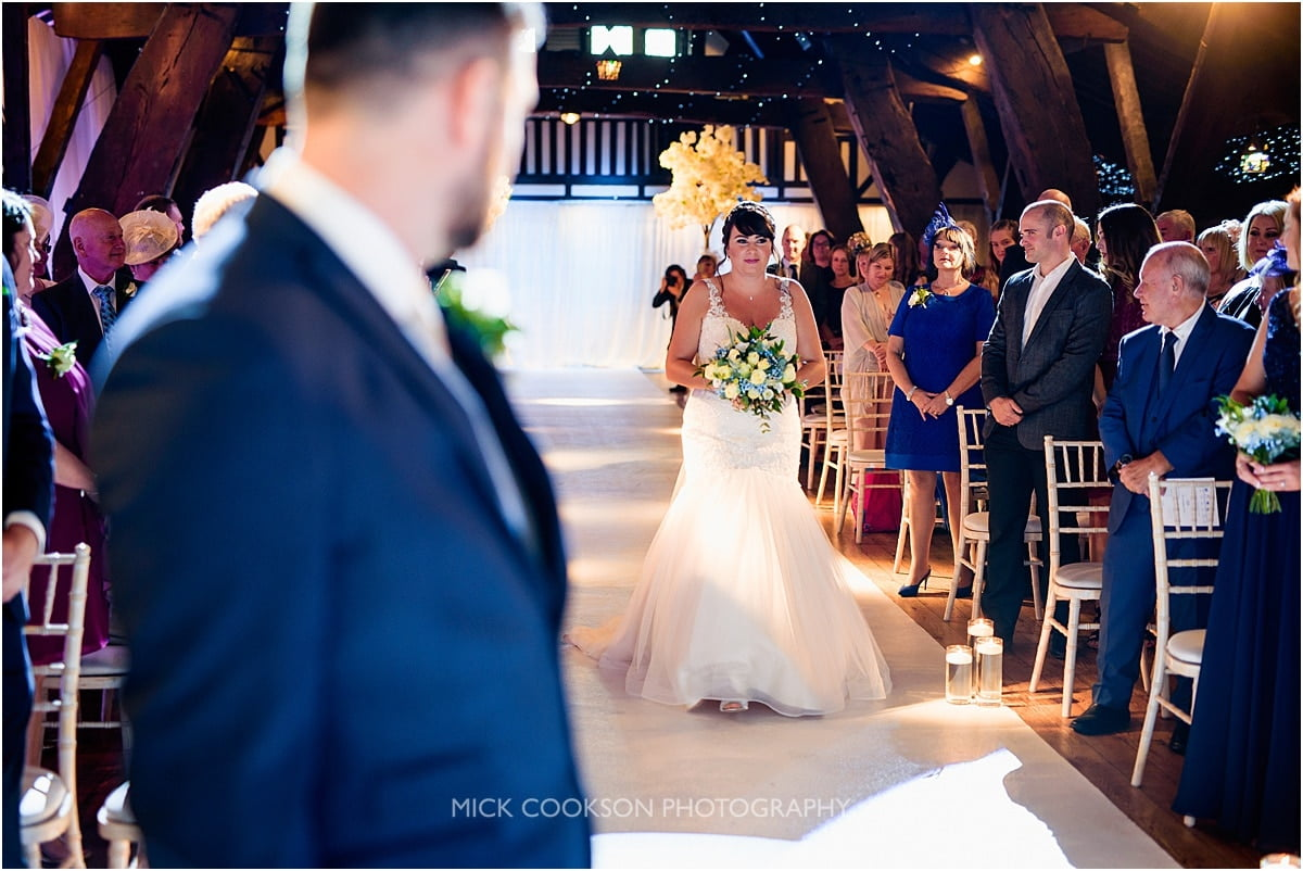 nervous bride at her rivington hall barn wedding