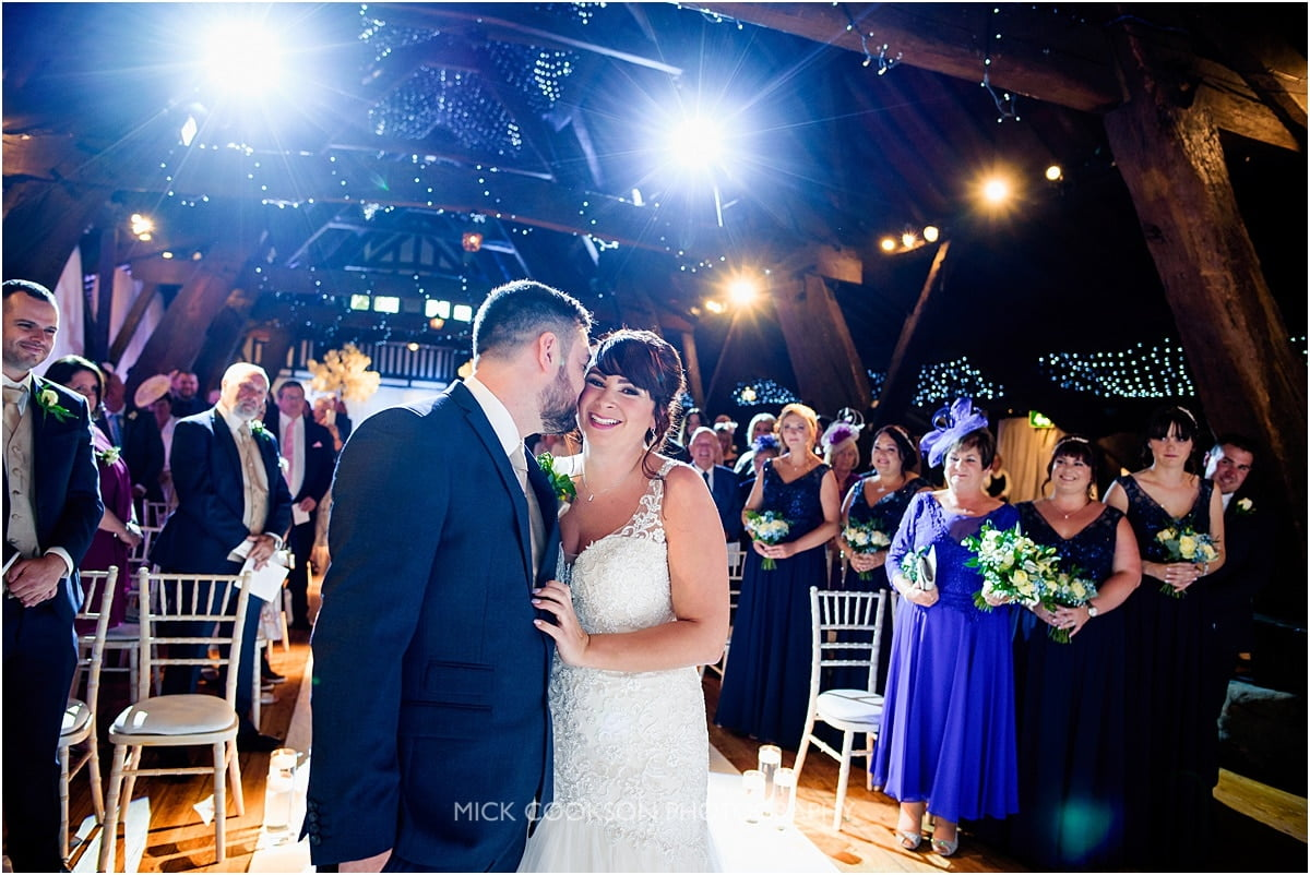 bride and groom meet at their rivington hall barn wedding