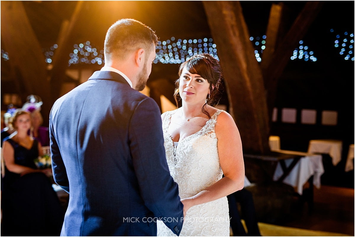 wedding ceremony at rivington hall barn wedding