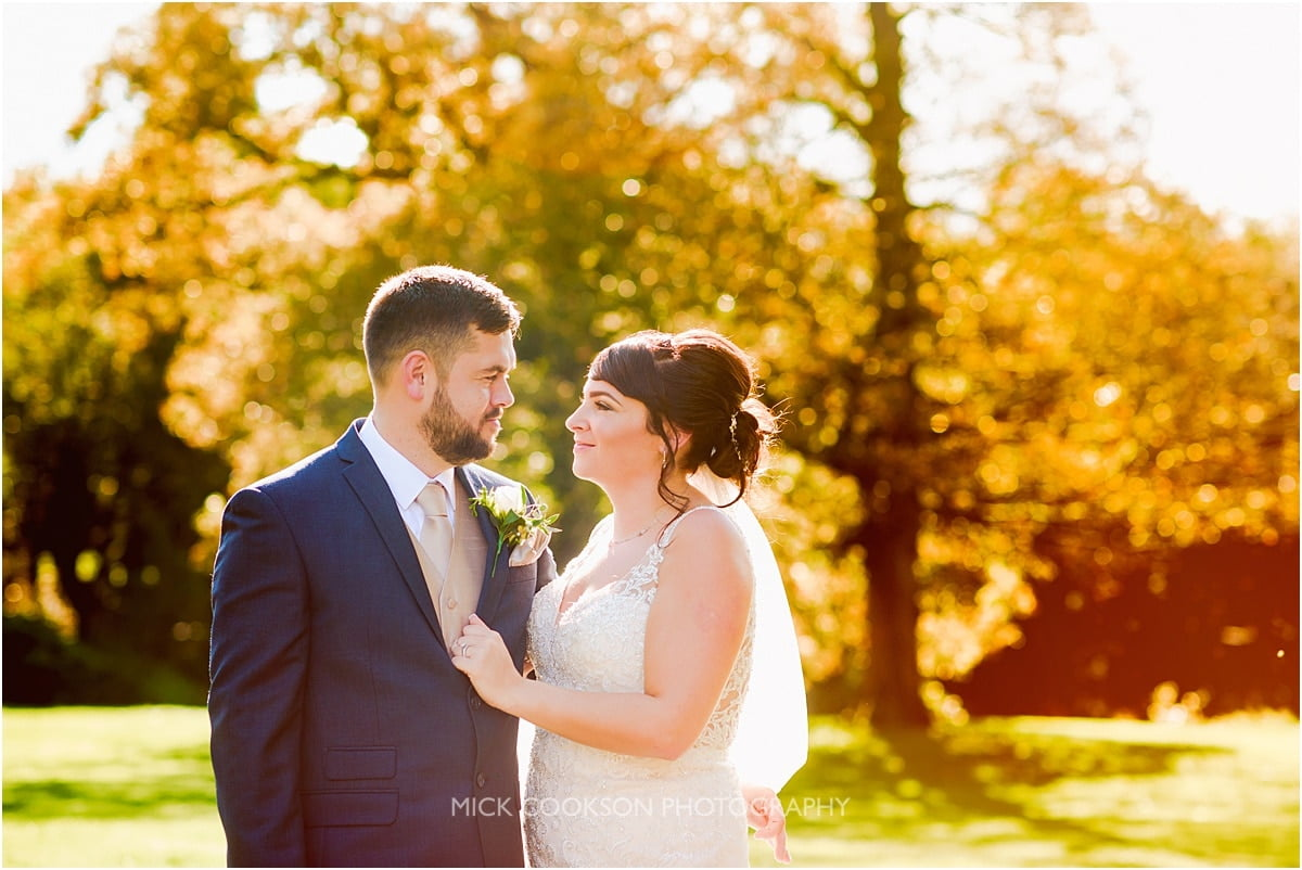 bride and groom photo at rivington hall barn