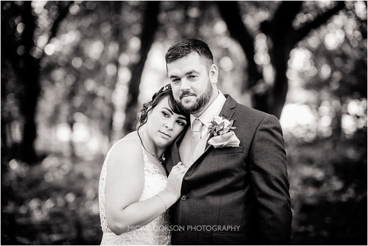 bride and groom at  rivington hall barn