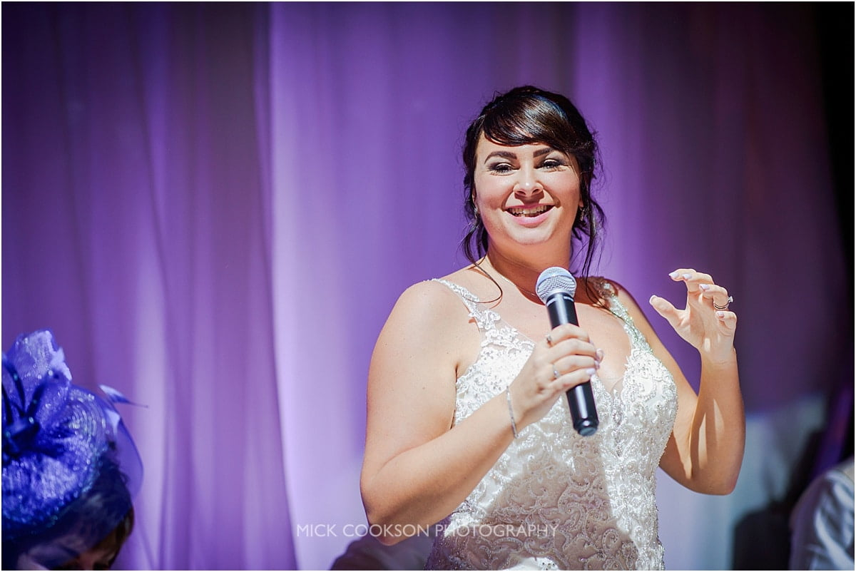 bride speech at rivington hall barn