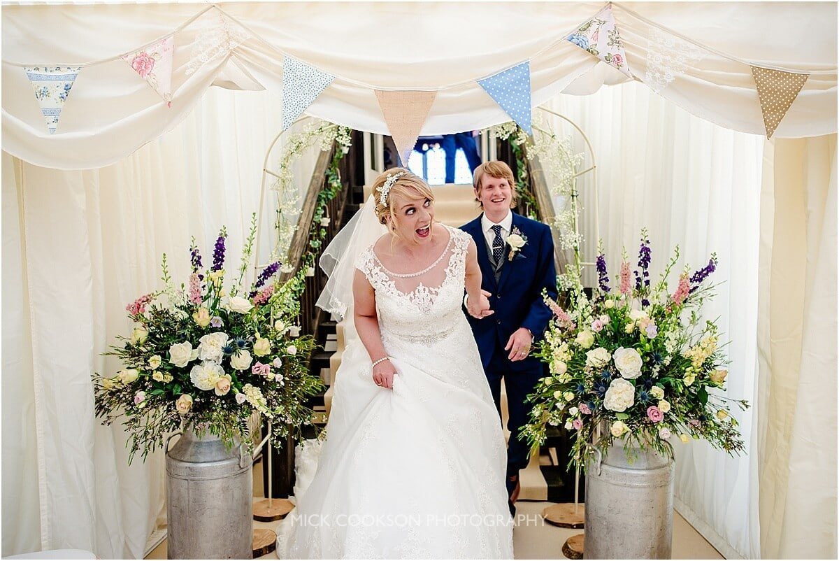 happy bride and groom at leighton hall