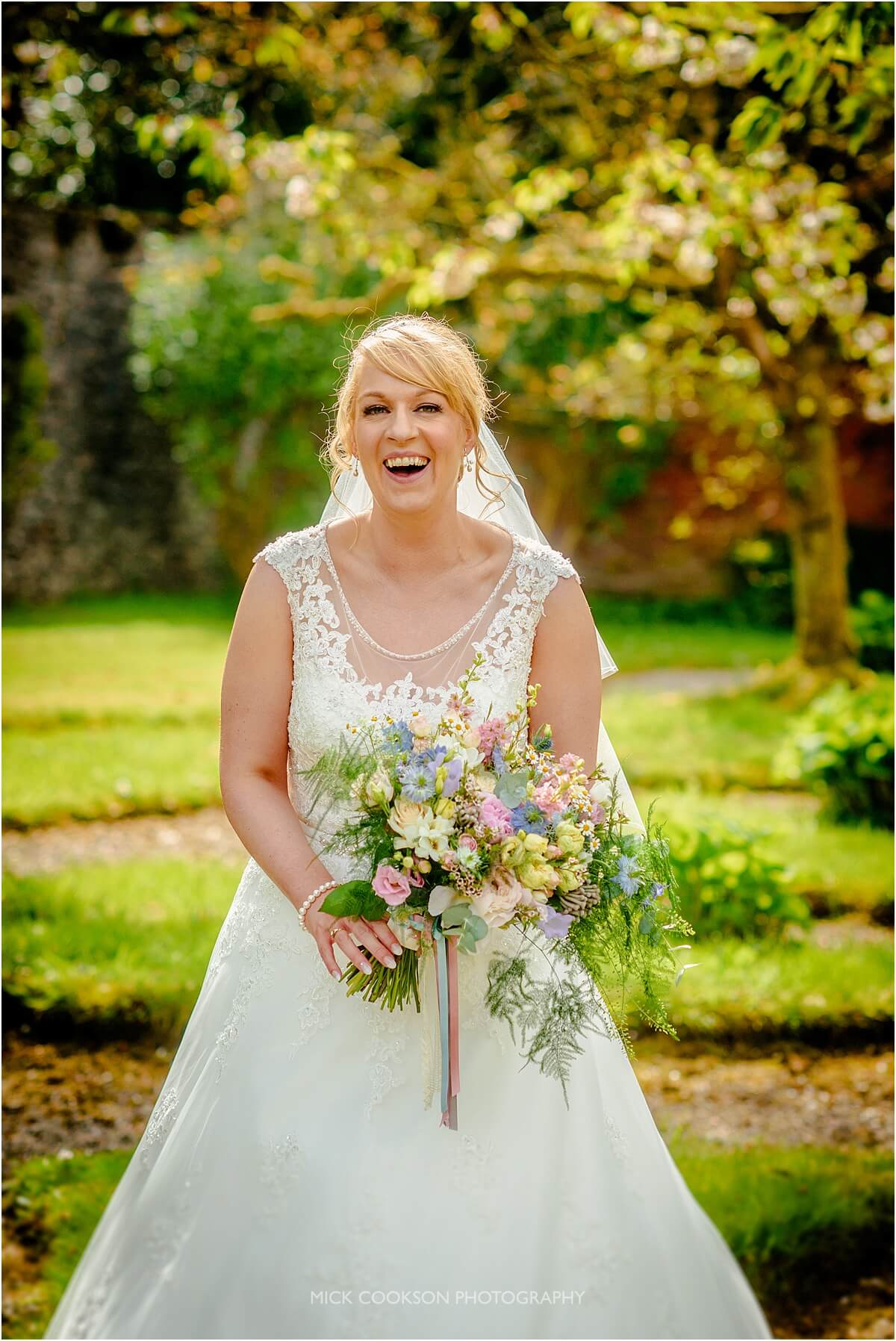 very excited bride at leighton hall