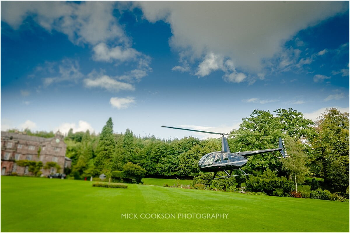 helicopter at browsholme hall