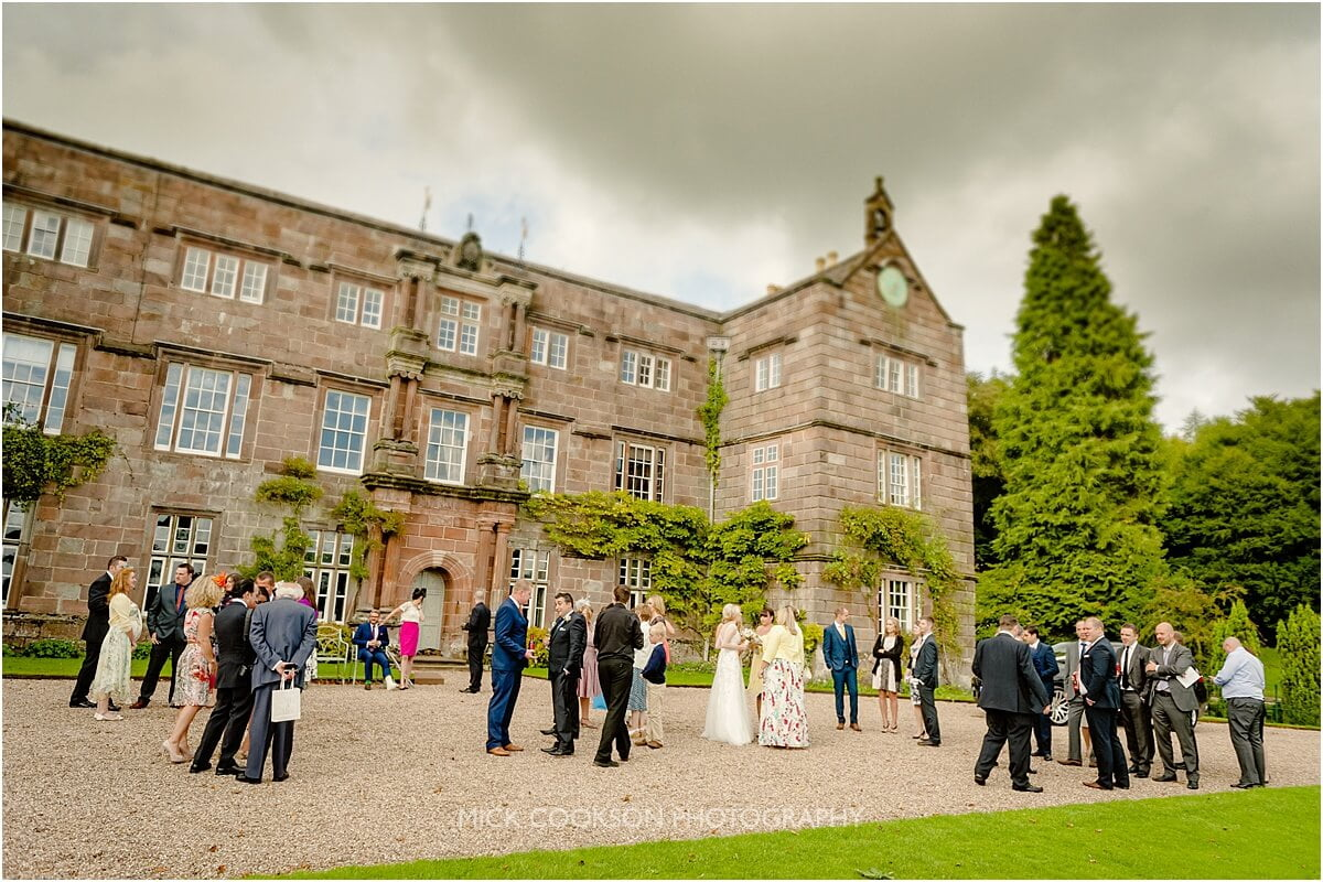 wedding guests outside browsholme hall
