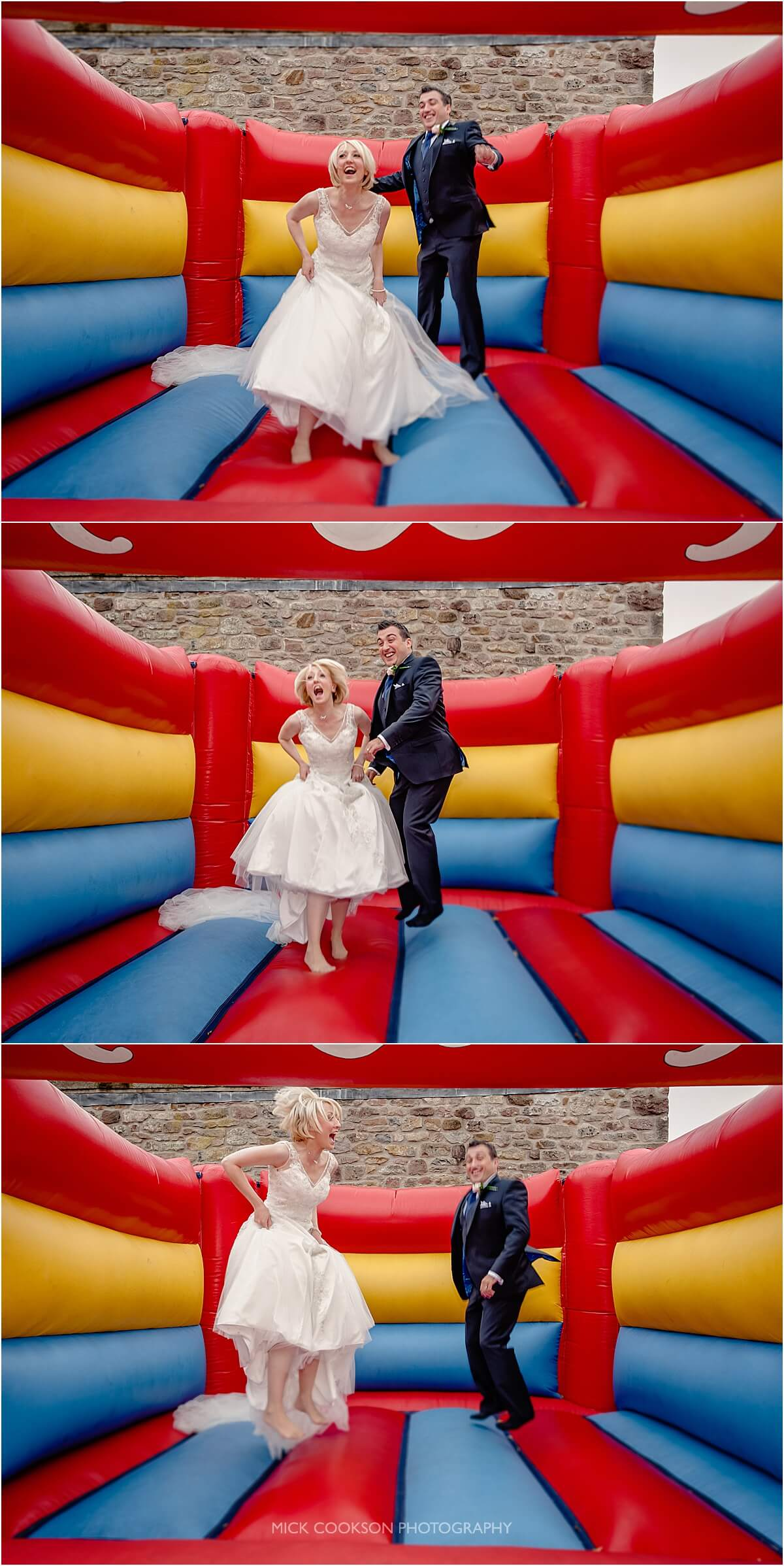 bride and groom on a bouncy castle at browsholme hall