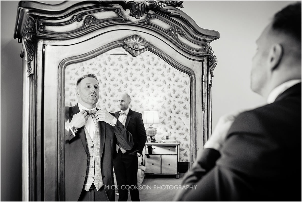 groom getting ready at Tyn Dwr Hall