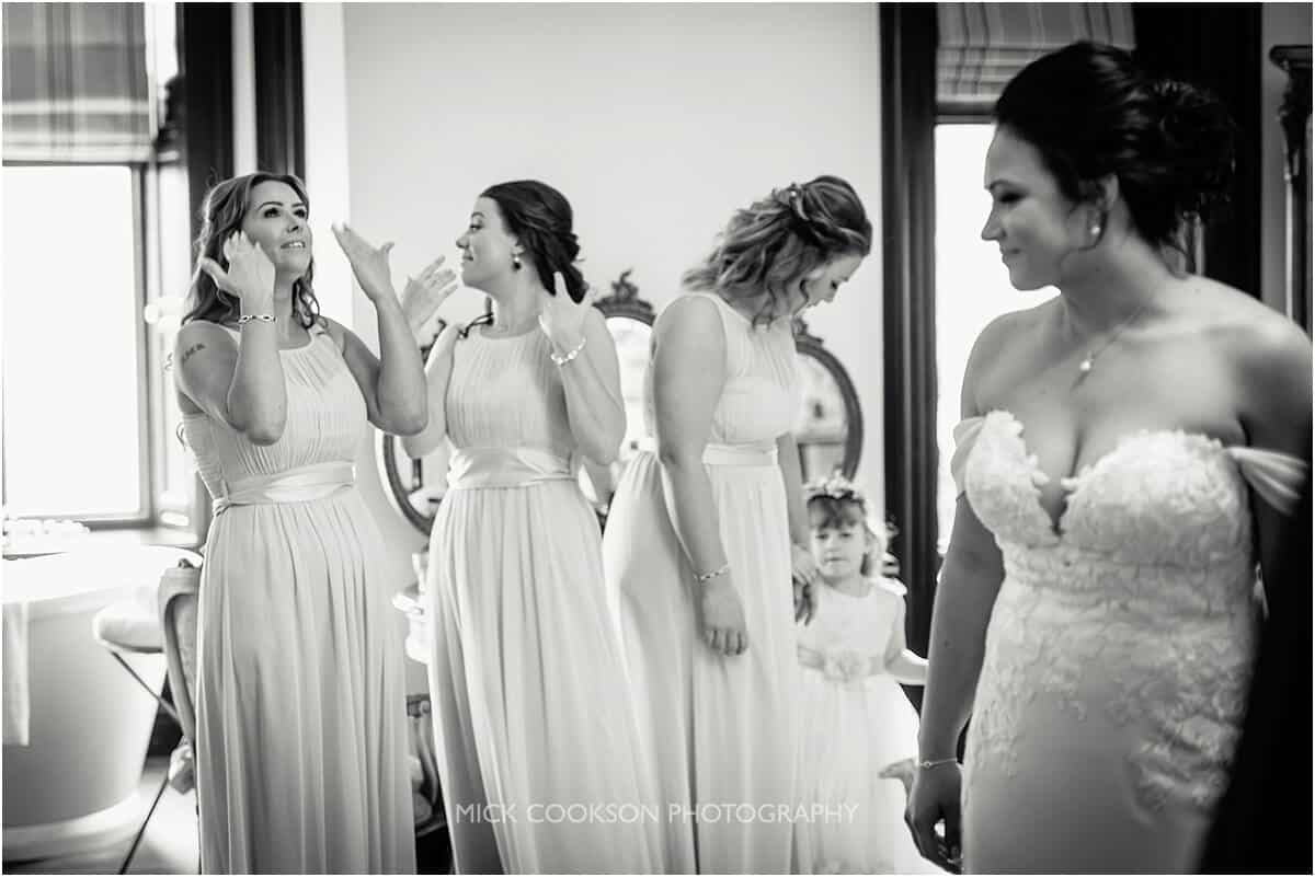 emotional bridesmaids at Tyn Dwr Hall