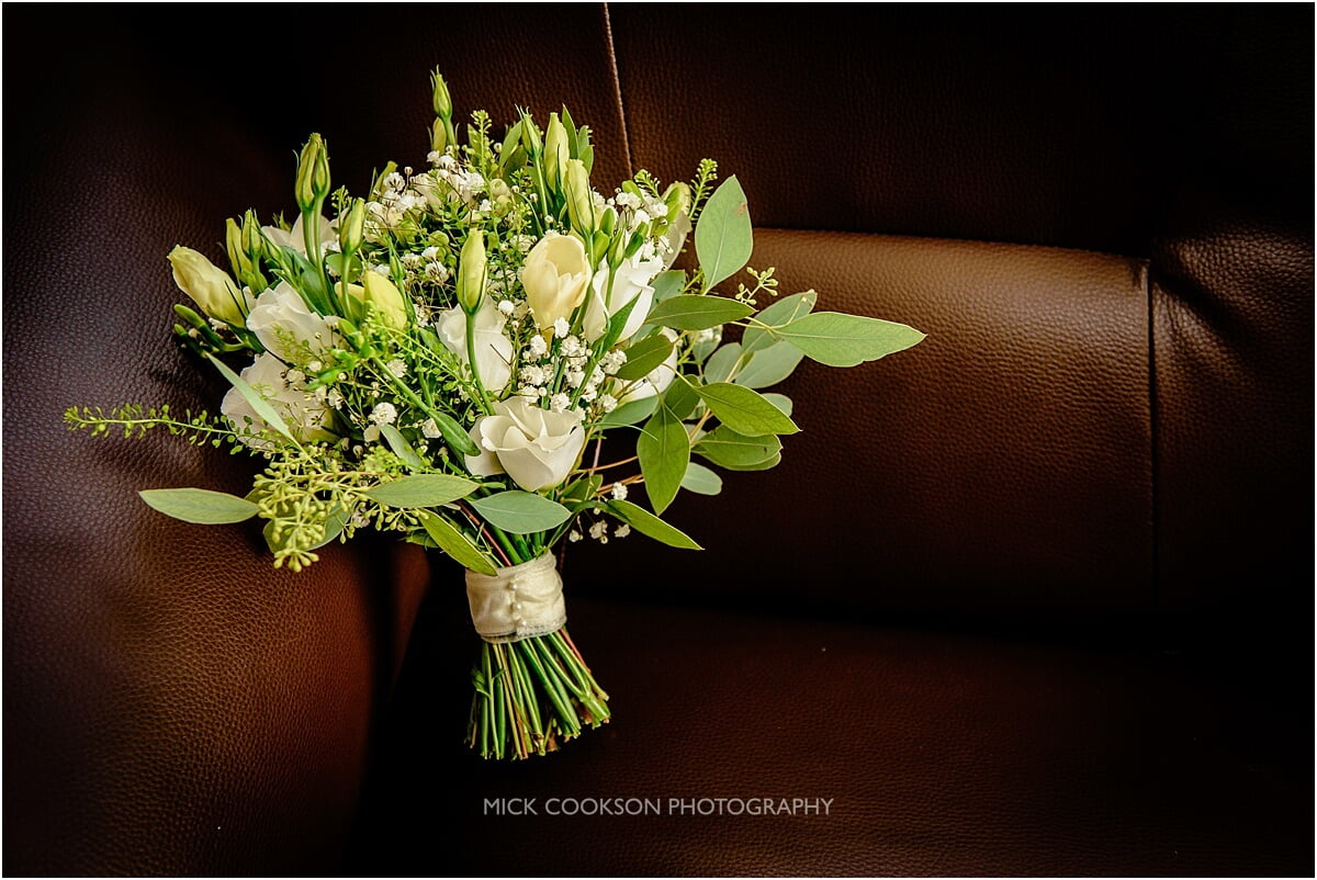 white rose wedding bouquet at cranage hall