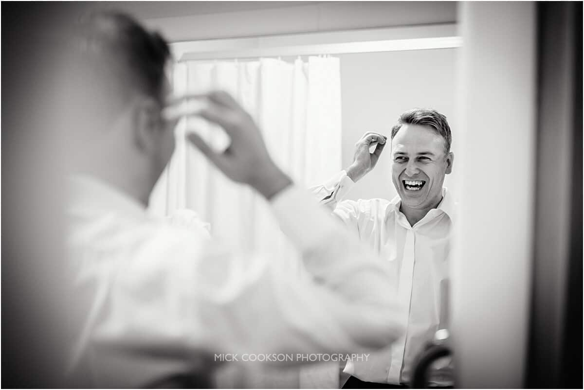 excited groom at cranage hall