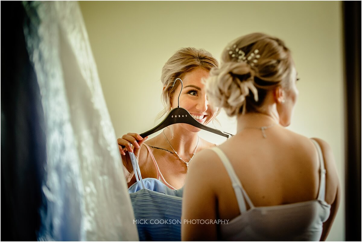 bridesmaids getting ready at cranage hall