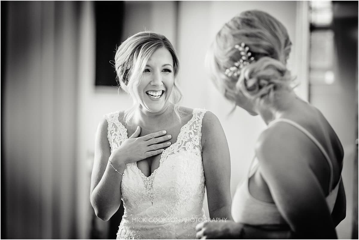 excited bride at cranage hall