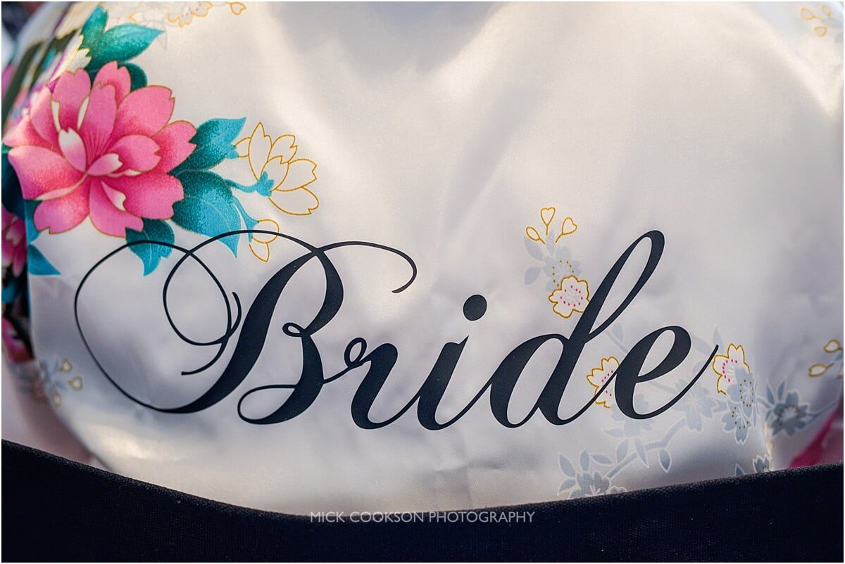 dressing gown with bride written on
