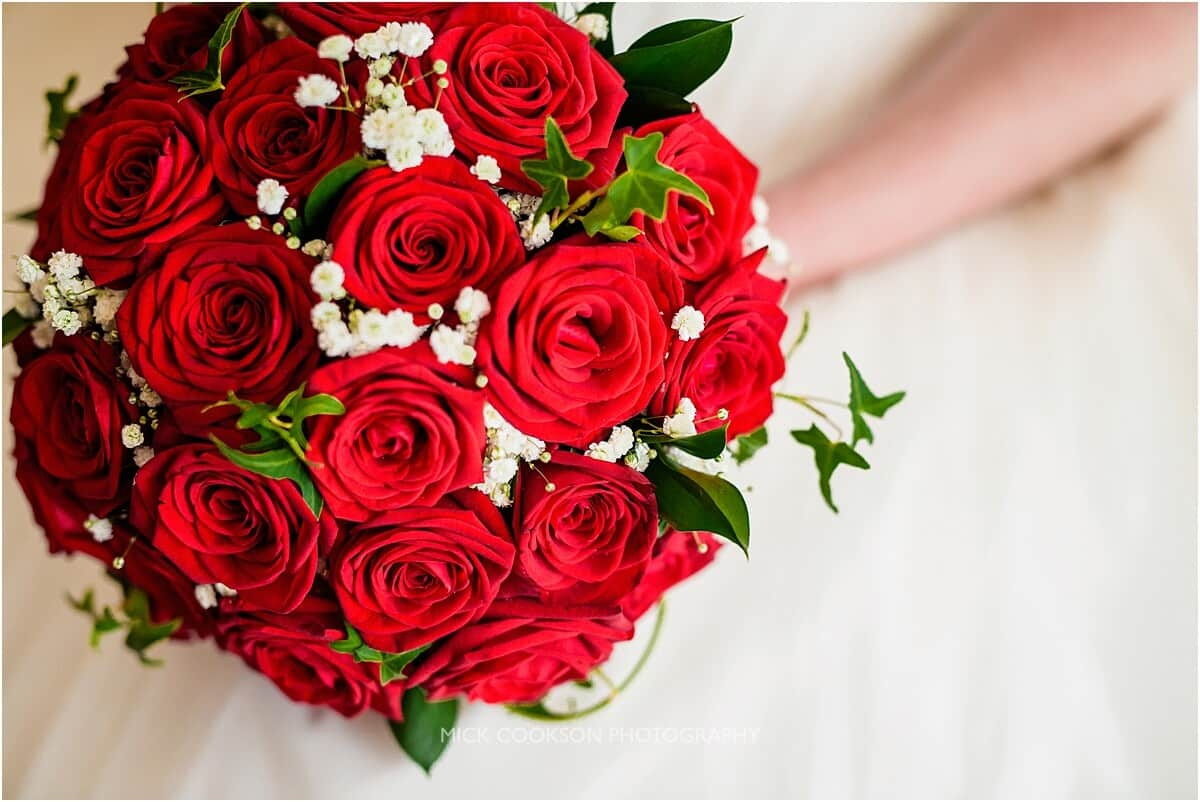 wedding bouquet made from red roses