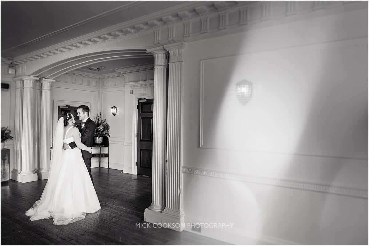 bride and groom first look at eaves hall