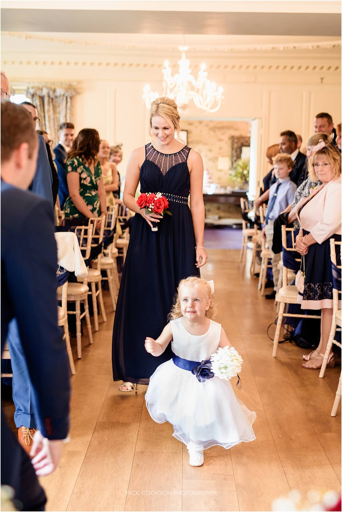 excited flower girl at eaves hall