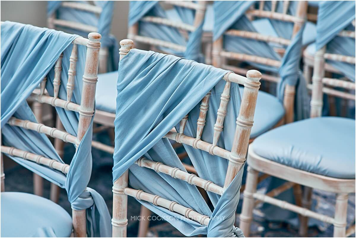 blue chair covers for a wedding