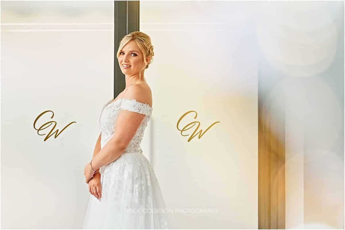 bride posing at the crow wood hotel